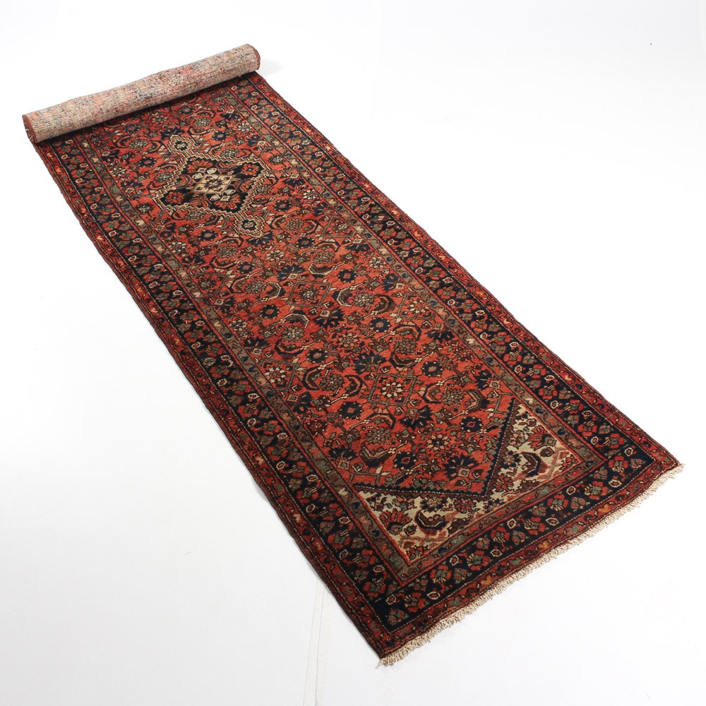 Hand-Knotted Semi-Antique Persian Malayer Sarouk Carpet Runner