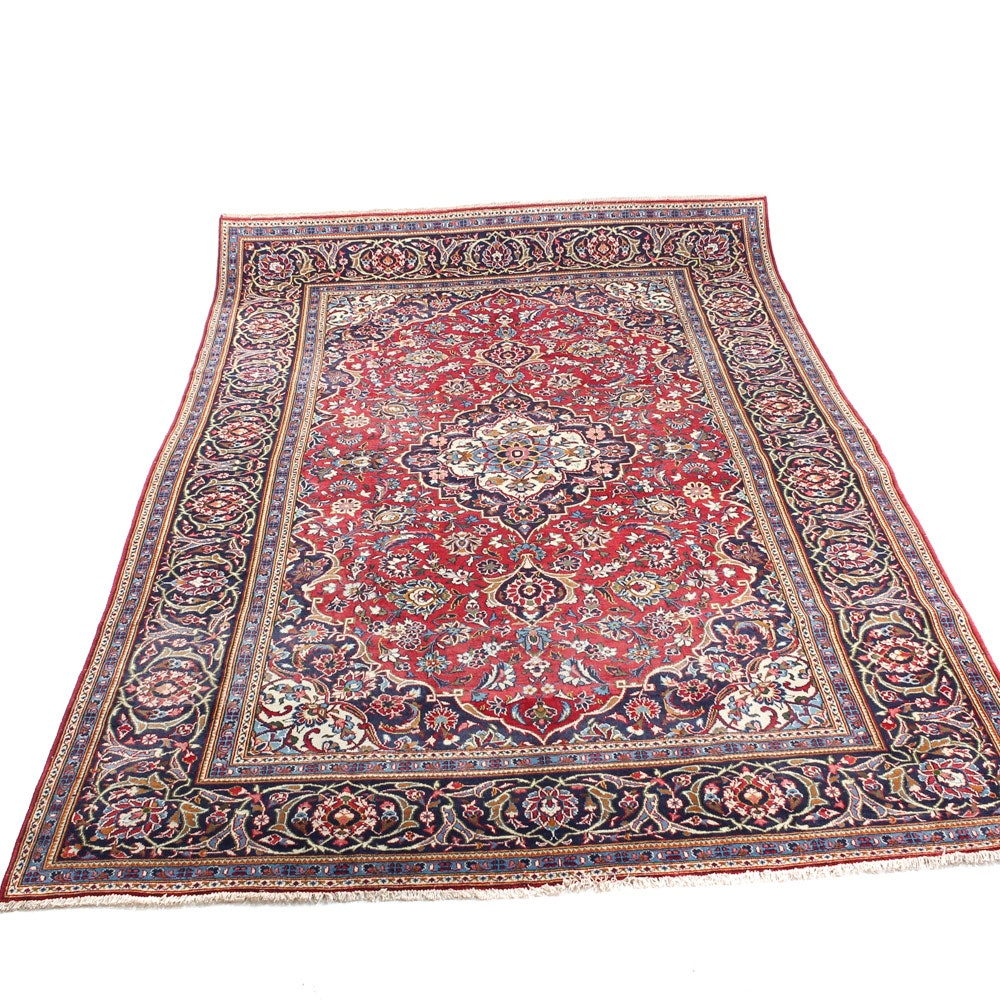 Hand-Knotted Semi-Antique Persian Kashan Rug