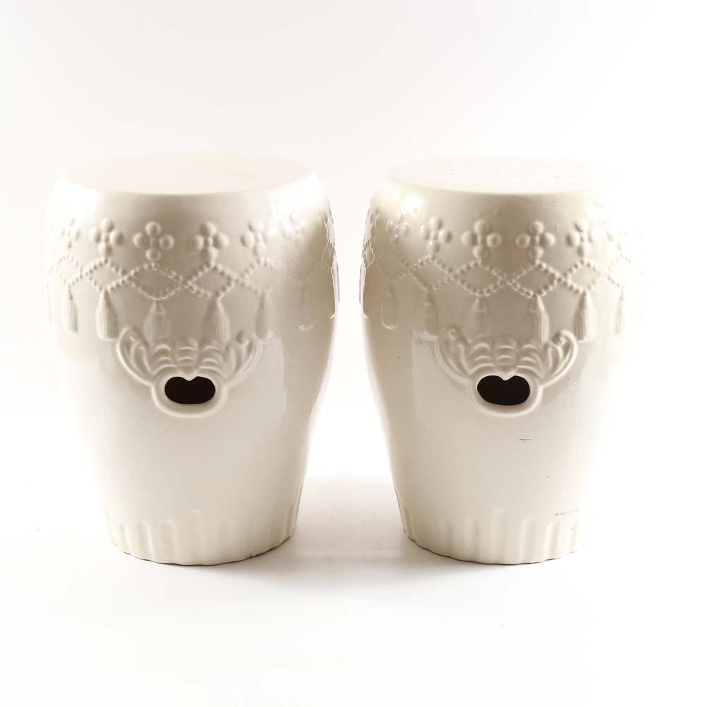 White Ceramic Garden Stools