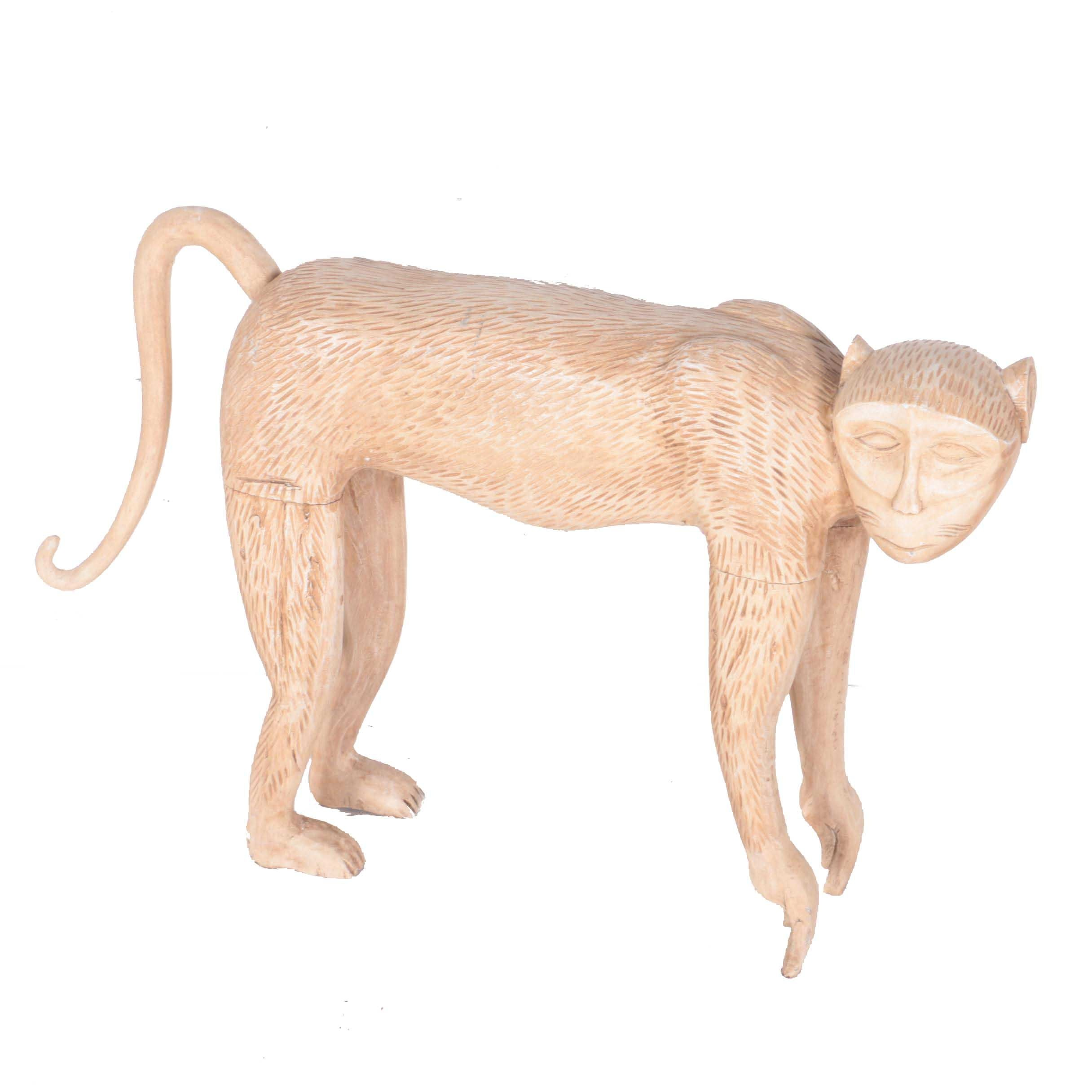 Carved Wood Statue of a Monkey
