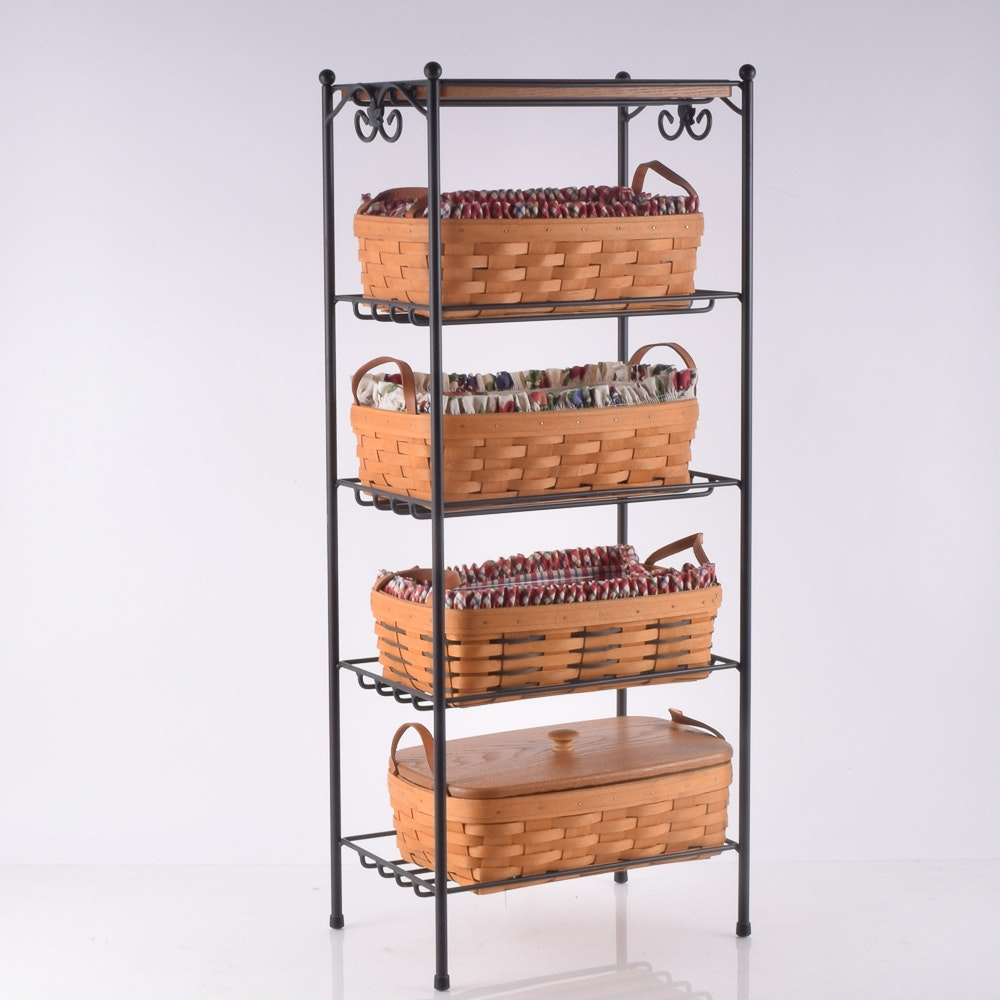 Assortment of Hand Woven Longaberger Baskets on Wrought Iron Stand