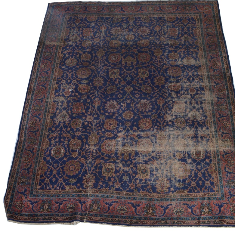 Antique Hand-Knotted Wool Kashan Area Rug