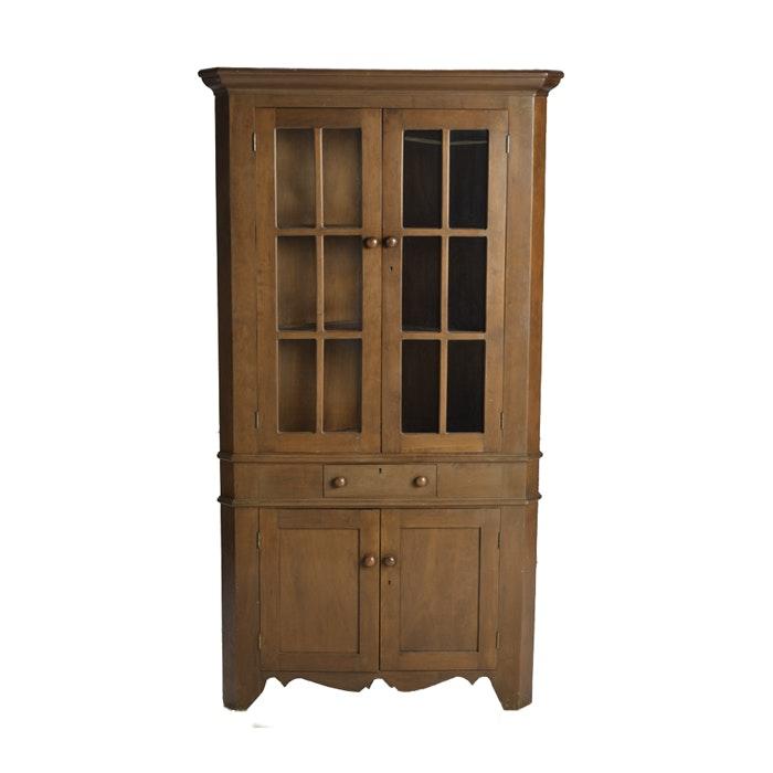 Vintage Cherry Corner Cabinet