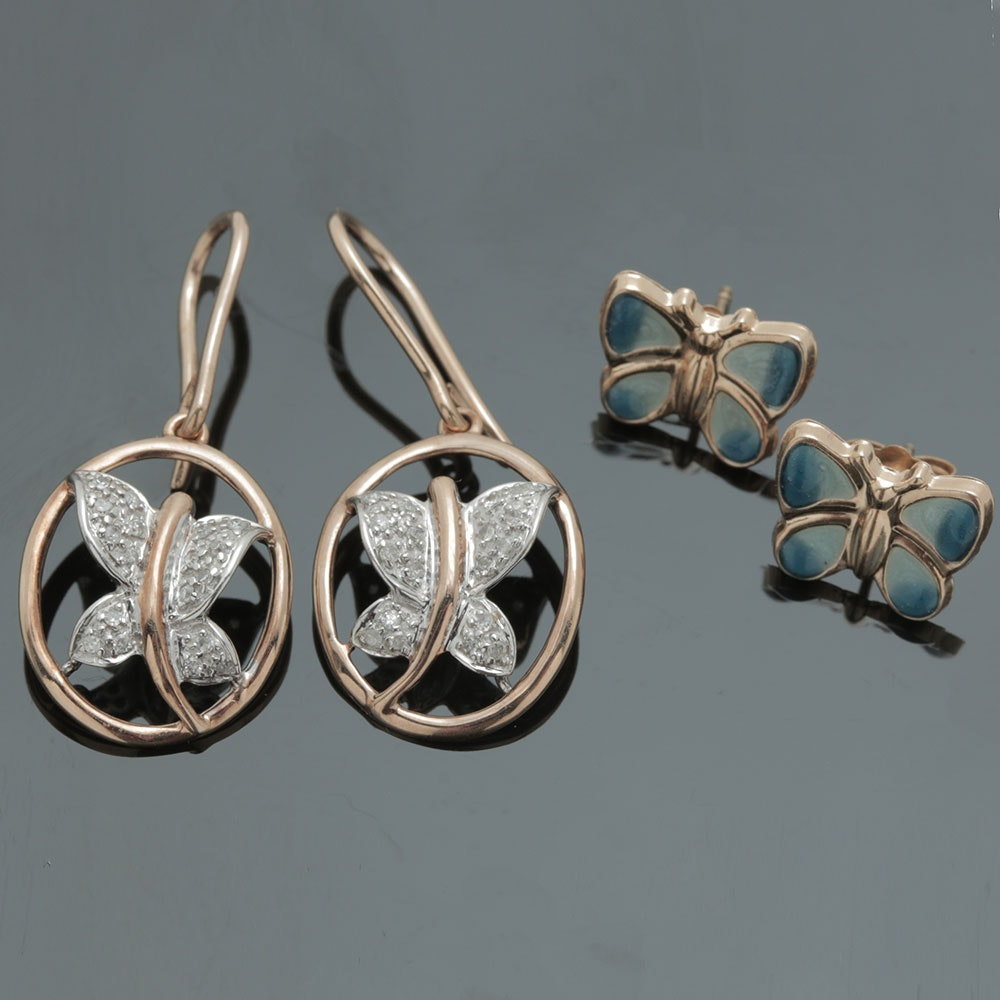 10K and 14K White and Yellow Gold Diamond Butterfly Earrings EBTH