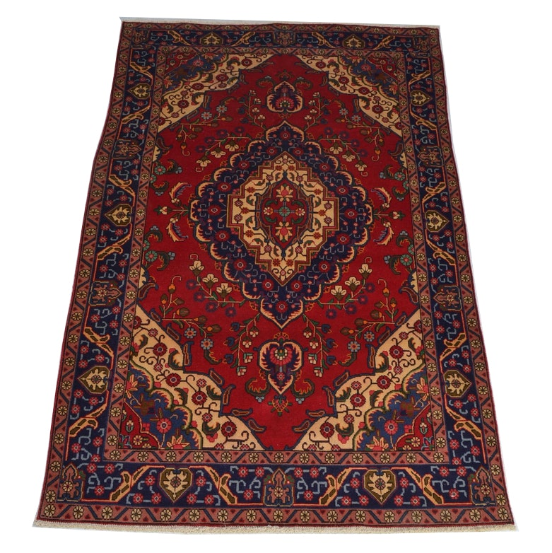 Semi-Antique Hand-Knotted Tabriz Area Rug
