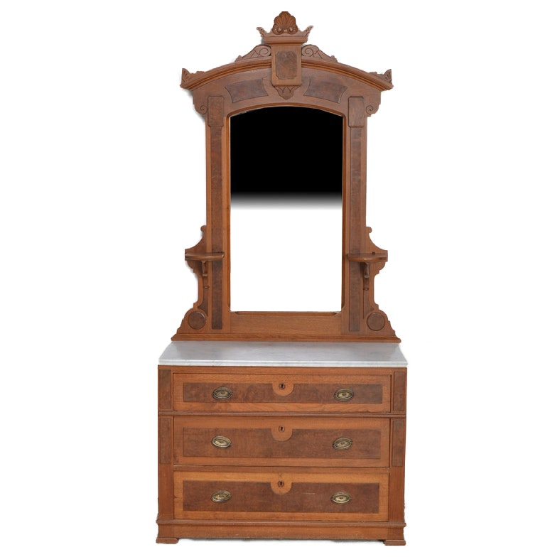 Eastlake Style Walnut Dresser with Marble Top and Mirror