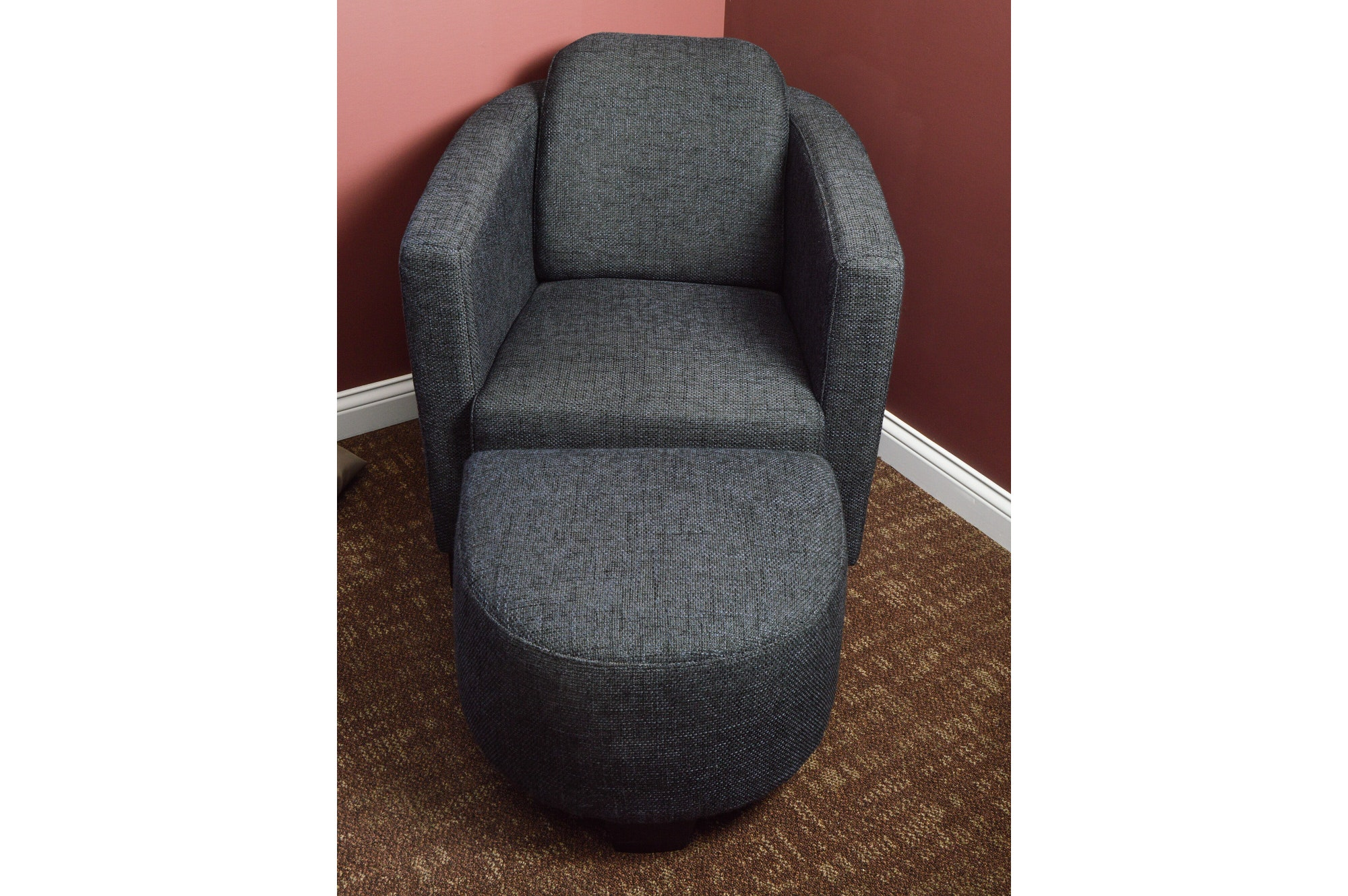 Contemporary Modern Upholstered Arm Chair with Ottoman