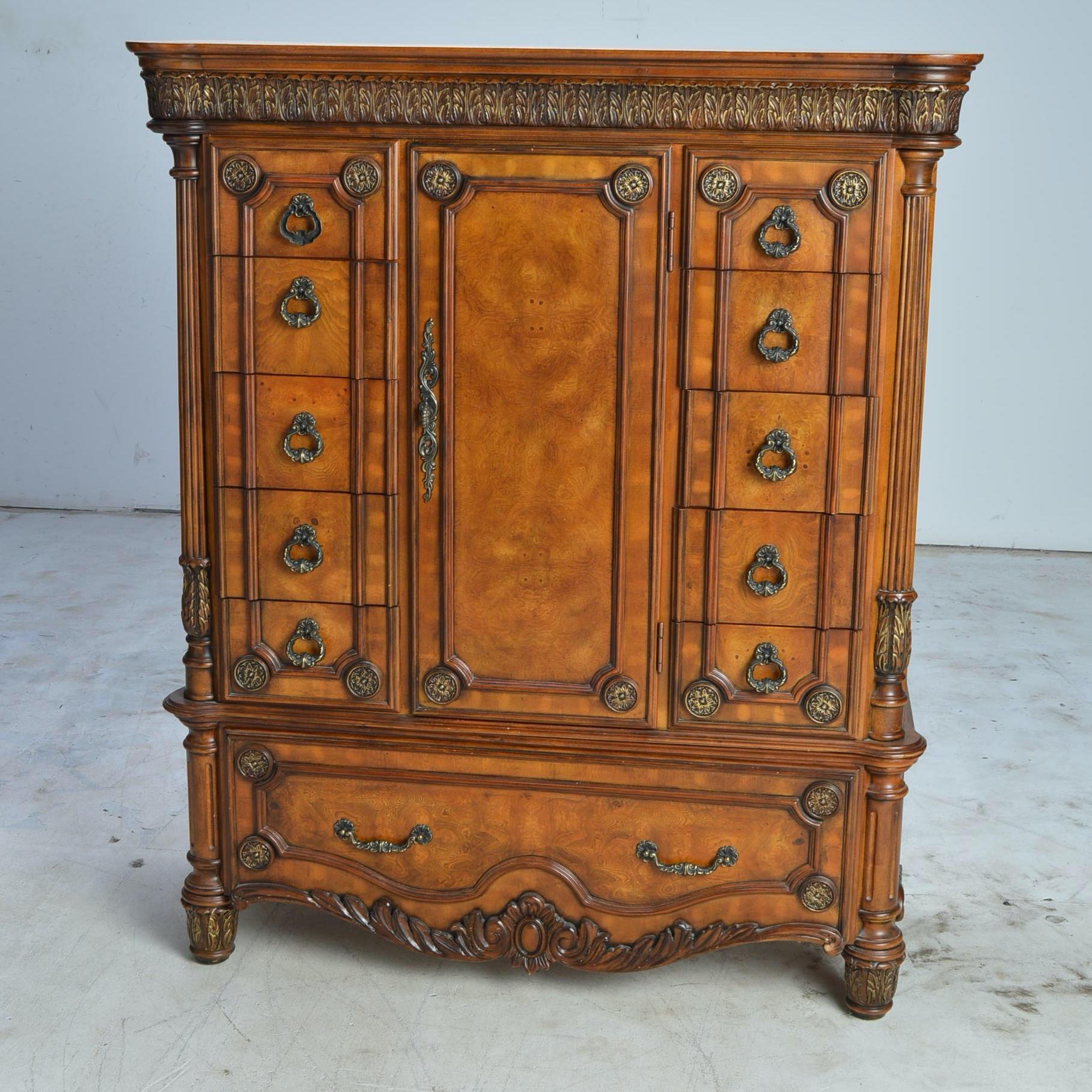 Burled Wood Veneer Armoire by Pulaski Furniture
