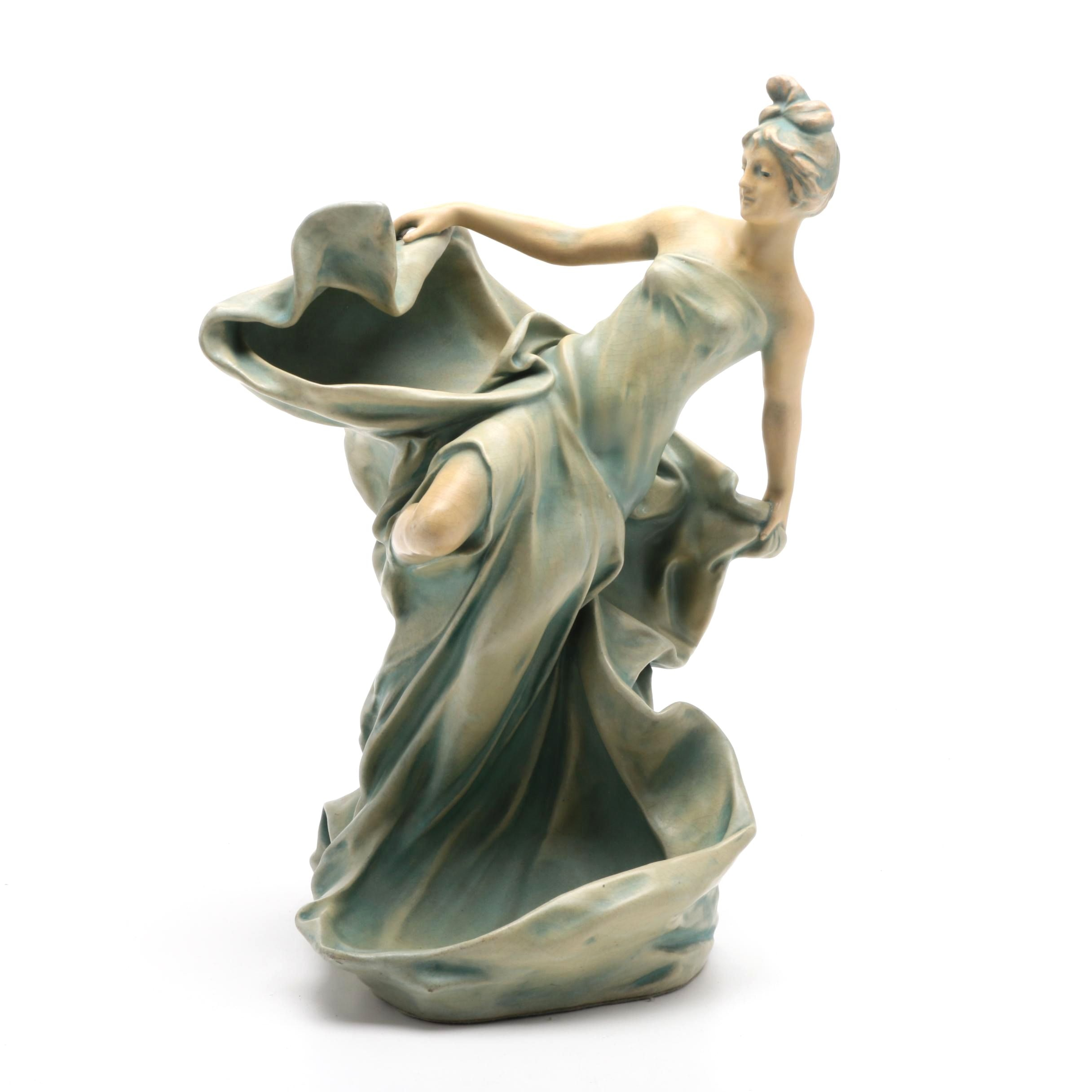 Bernard Bloch Art Nouveau Figure of Woman in Draped Garment