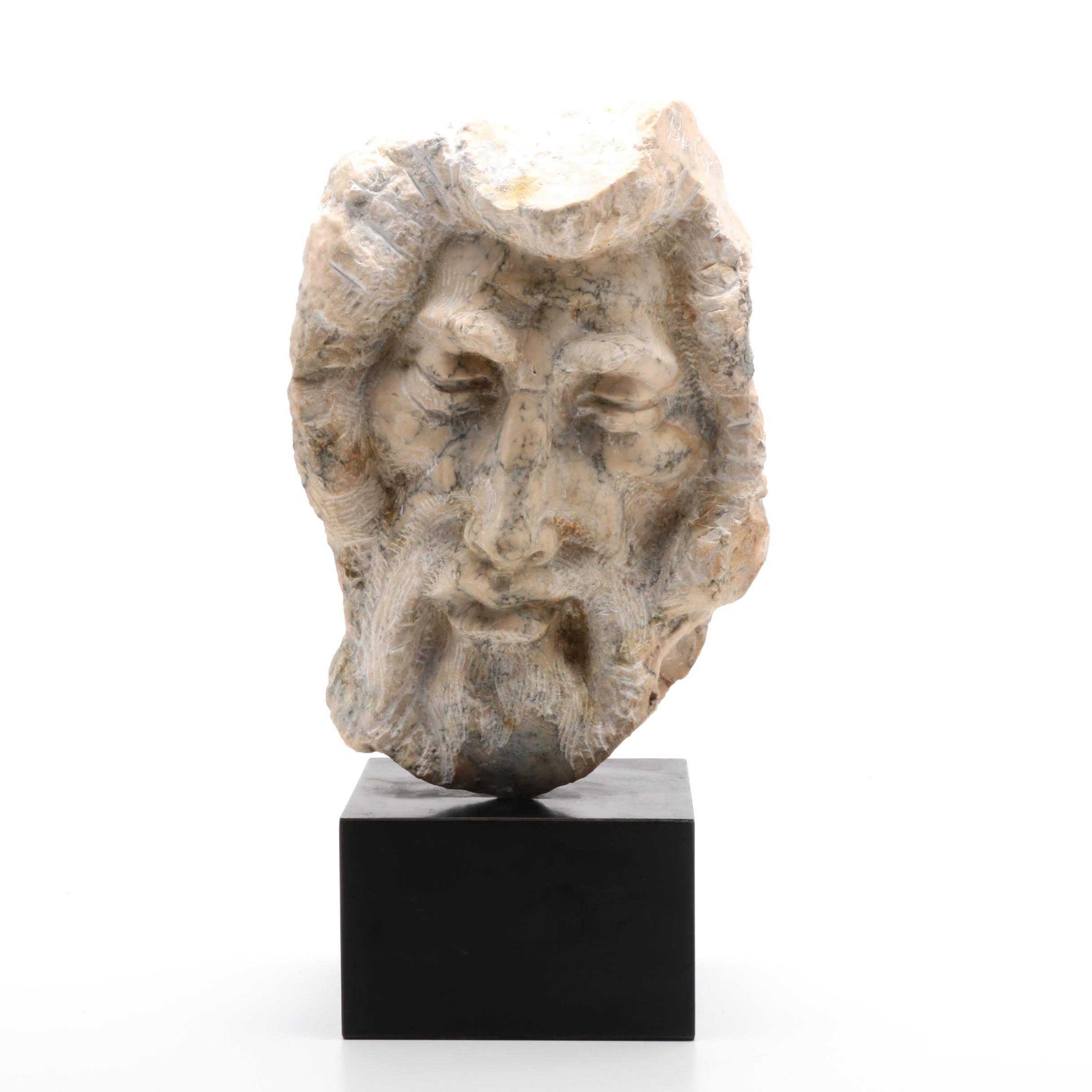 "Michael Barkin Marble Sculpture Head from the ""Prophet"" Series"