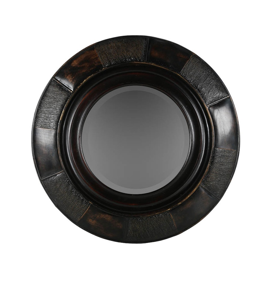 Circular leather framed hanging wall mirror ebth circular leather framed hanging wall mirror amipublicfo Gallery