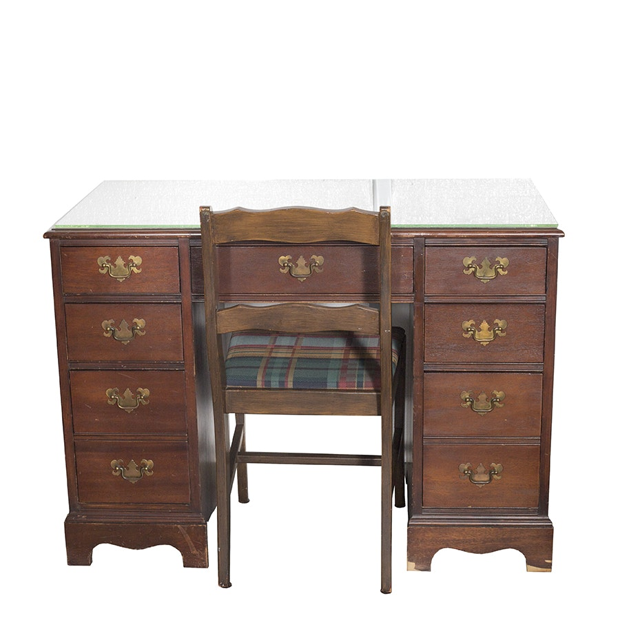 Vintage Mahogany Kneehole Desk and Chair