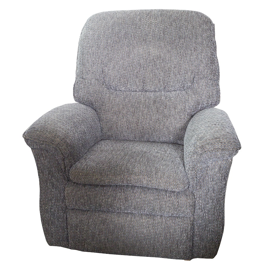 Slate Blue Grey Chenille Reclining Club Chair