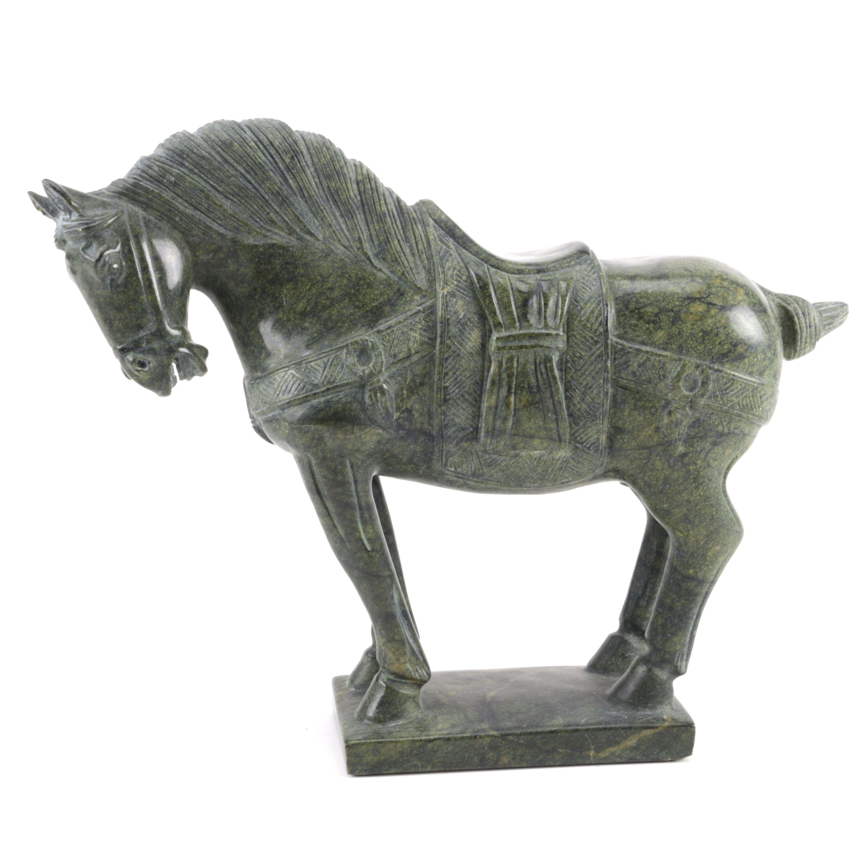Chinese Carved Soapstone Sculpture of a War Horse