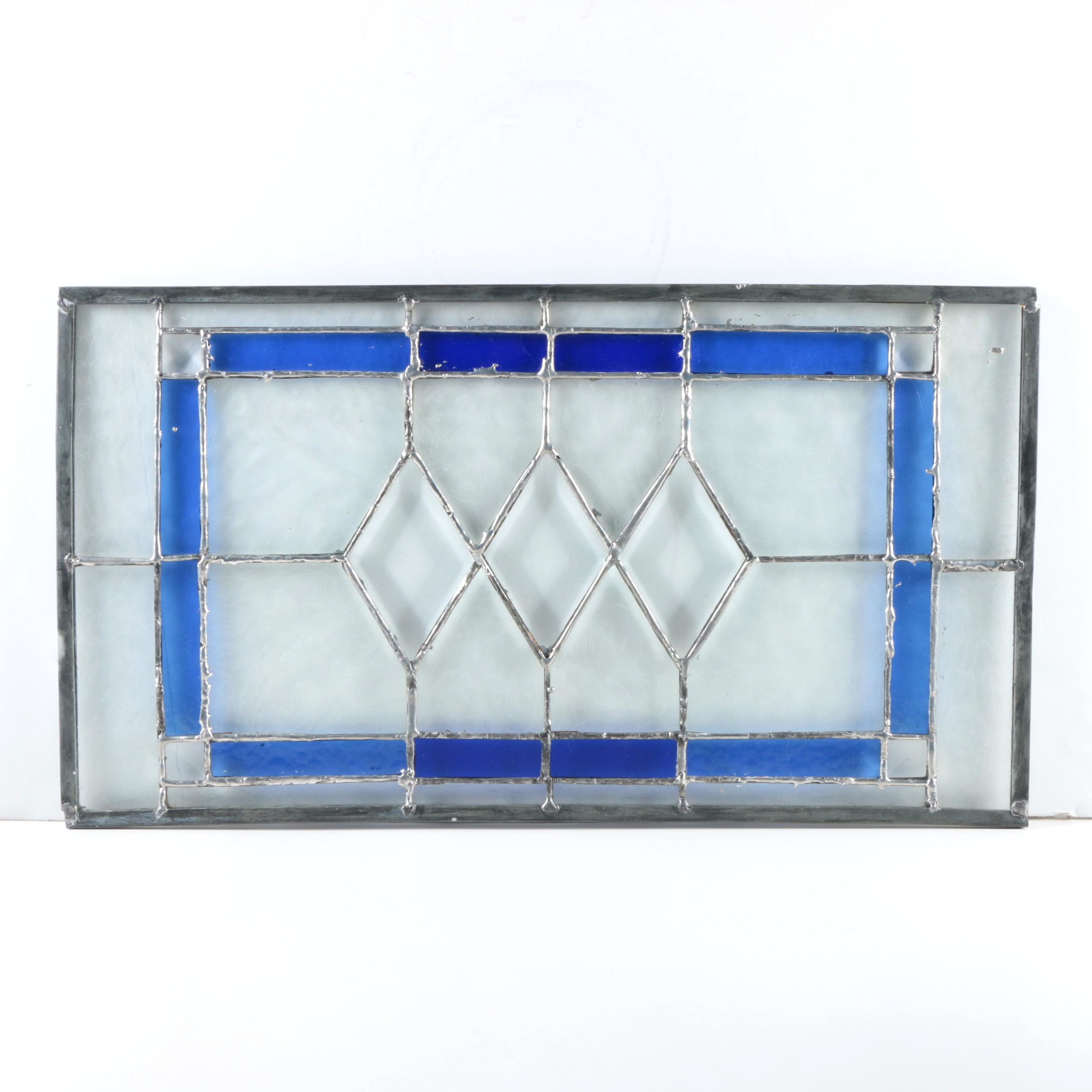 Cobalt Blue and Colorless Stained Glass Panel