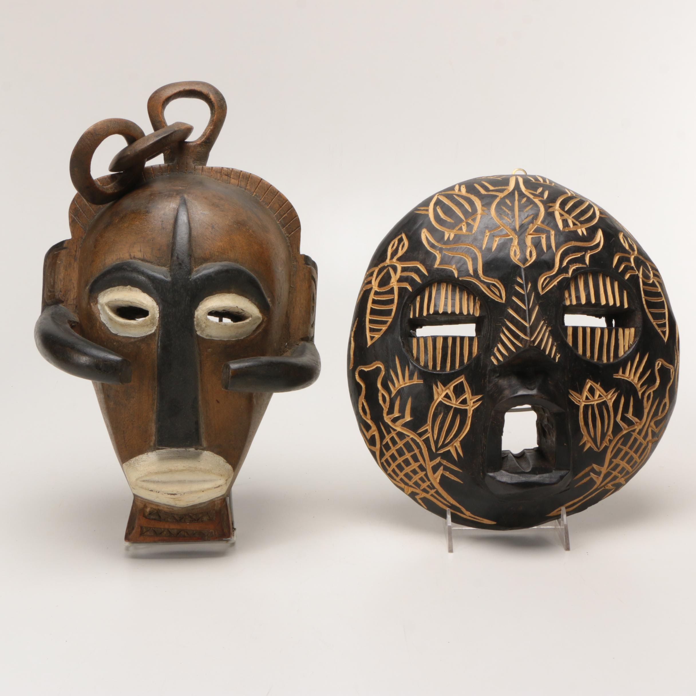 Pende and Baluba Carved Wooden Masks