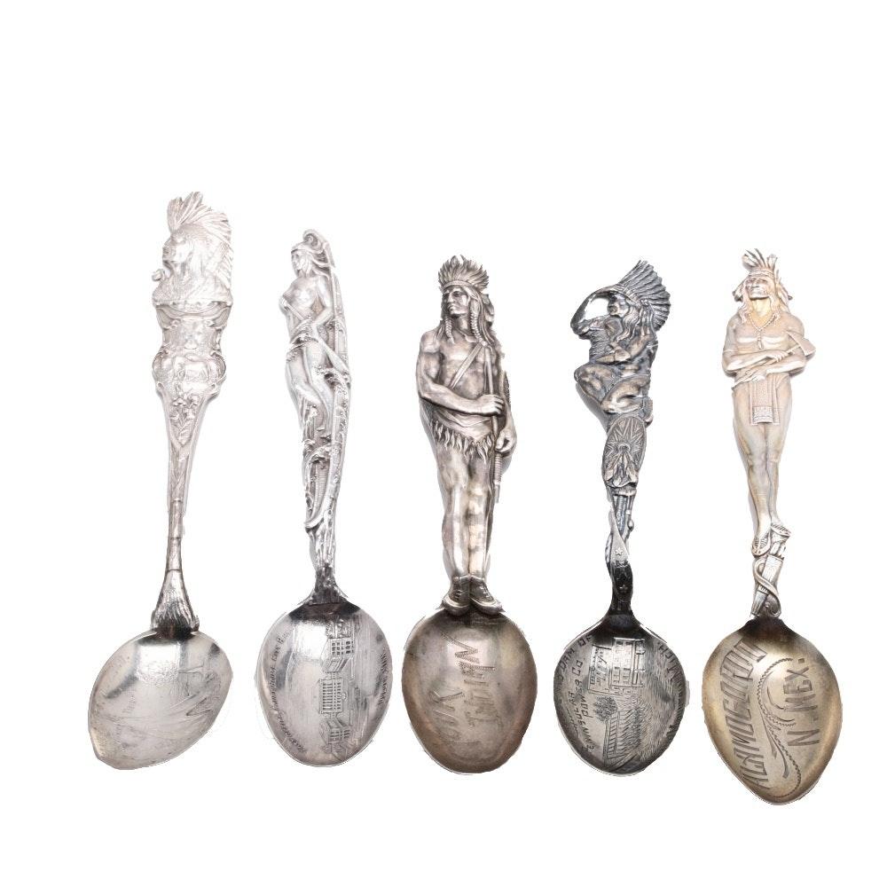 Five Vintage Sterling Silver Native American Souvenir Spoons