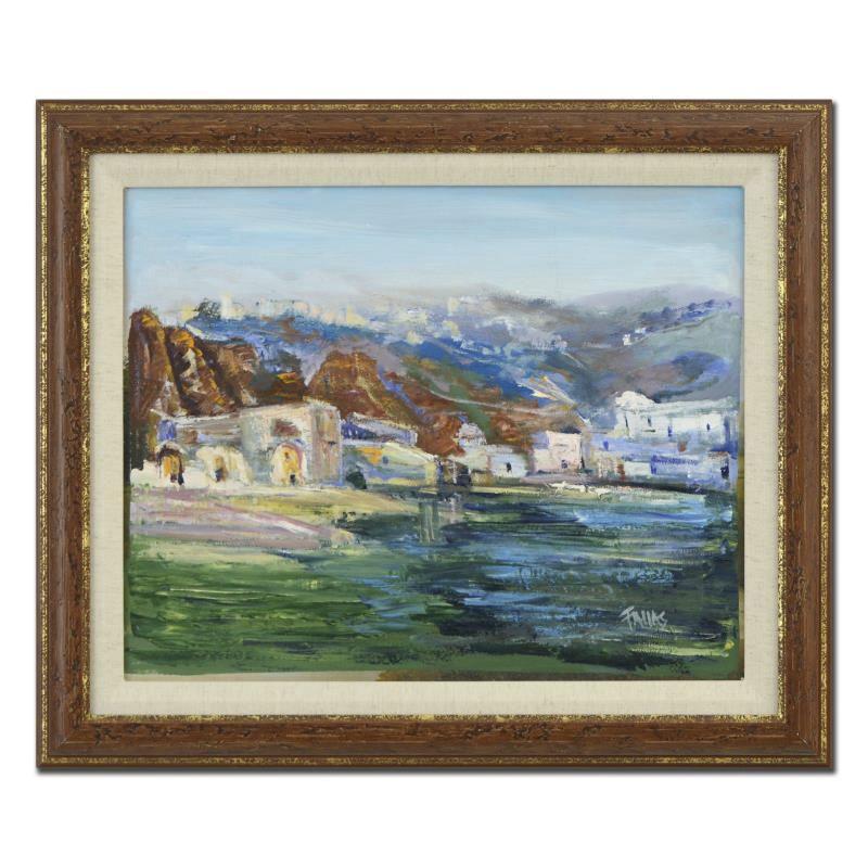 """Elliot Fallas Oil on Canvas """"Grecian Bayside"""""""