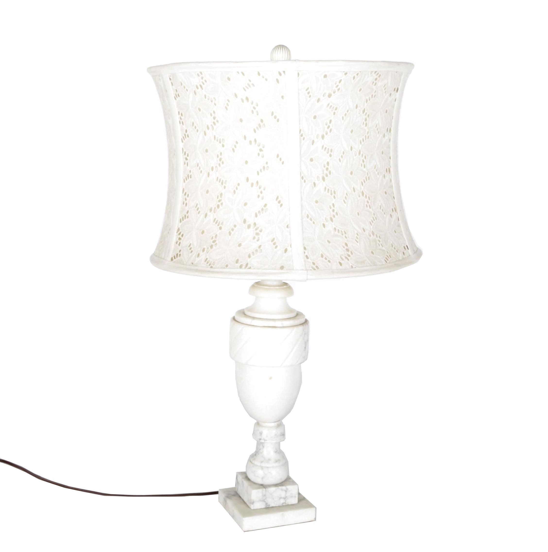 Vintage White Marble Table Lamp with Anthropologie Battenberg Lace Shade