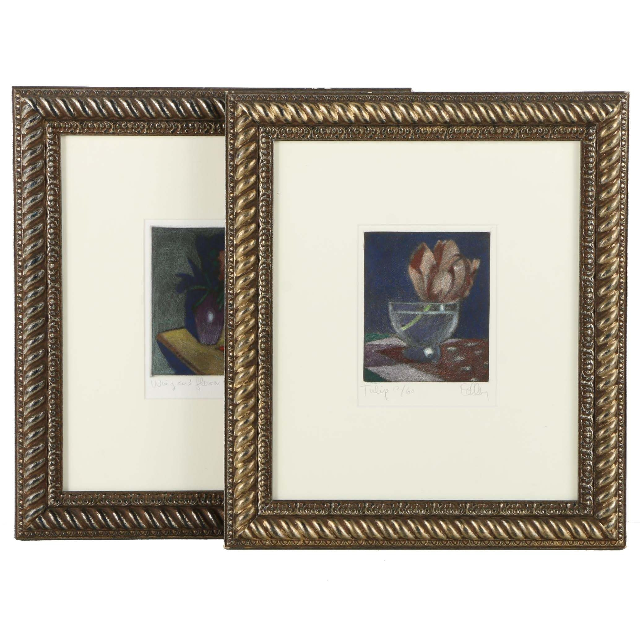 """Limited Edition Colored Etchings With Aquatint """"Wing and Flower"""" and """"Tulip"""""""