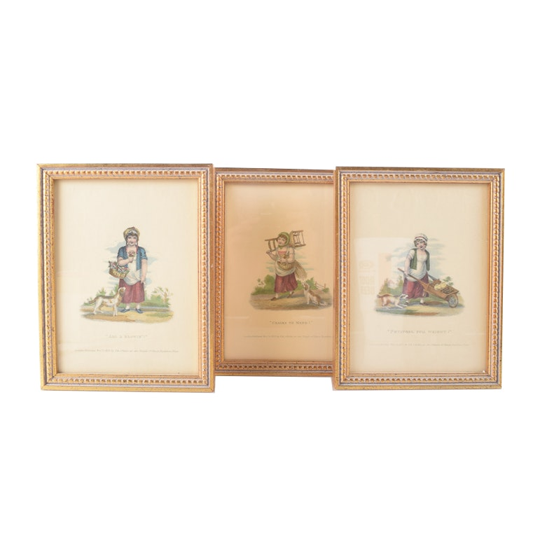 """Framed Hand-Colored Etching from """"London Cries: with Six Charming Children, & c."""""""