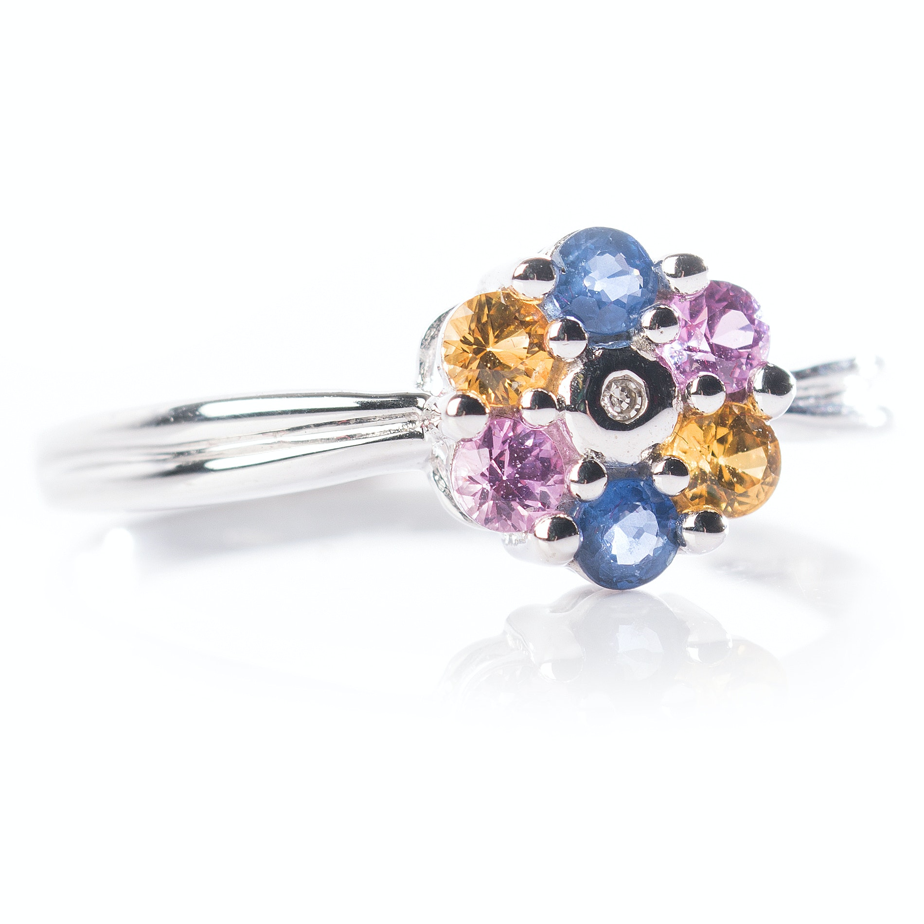 14K White Gold Multi-Color Sapphire and Diamond Flower Ring