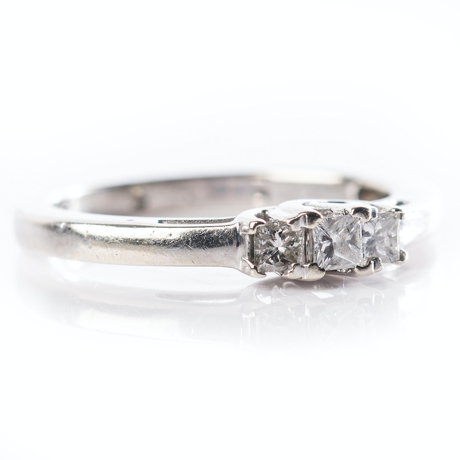 14K White Gold Three Stone Princess Cut Diamond Ring
