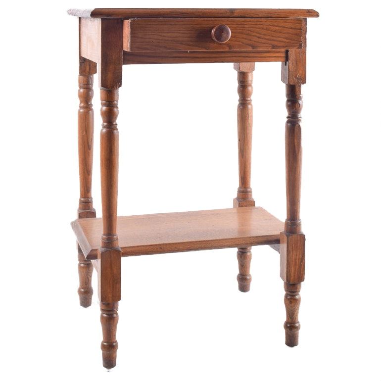 Sheraton Style Oak Accent Table with Drawer