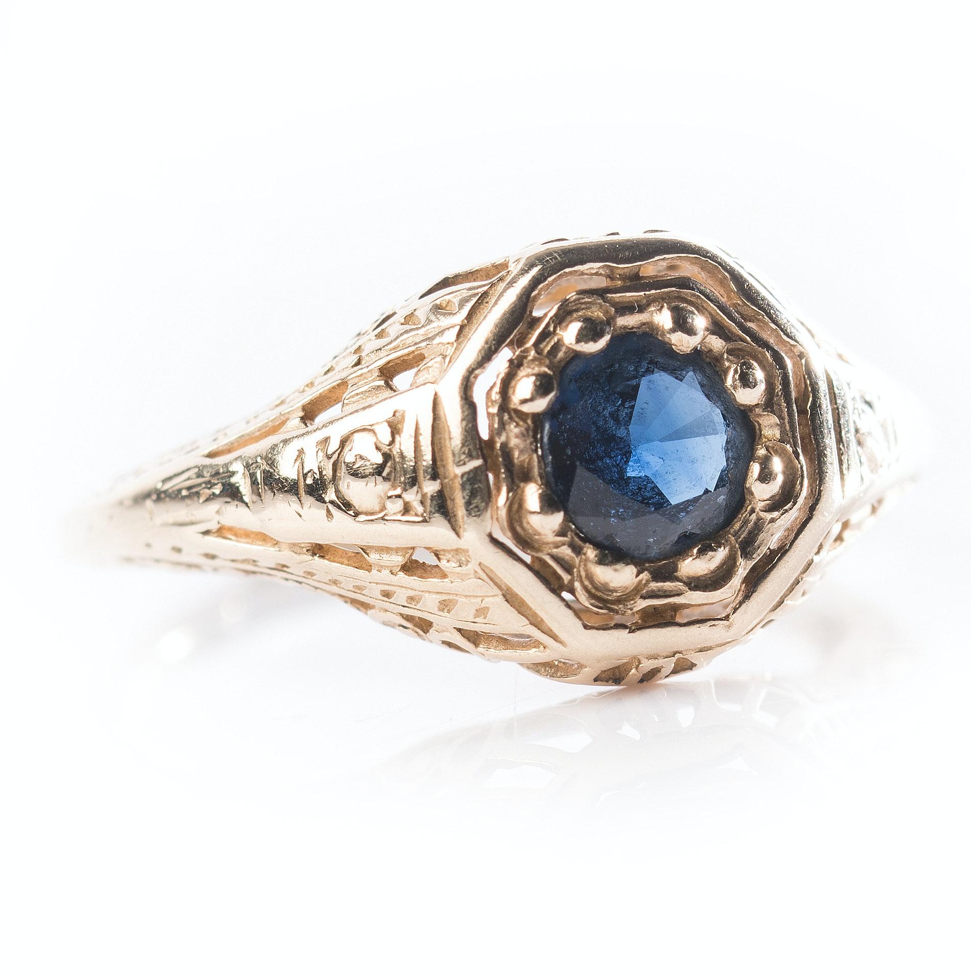 14K Yellow Sapphire Ring