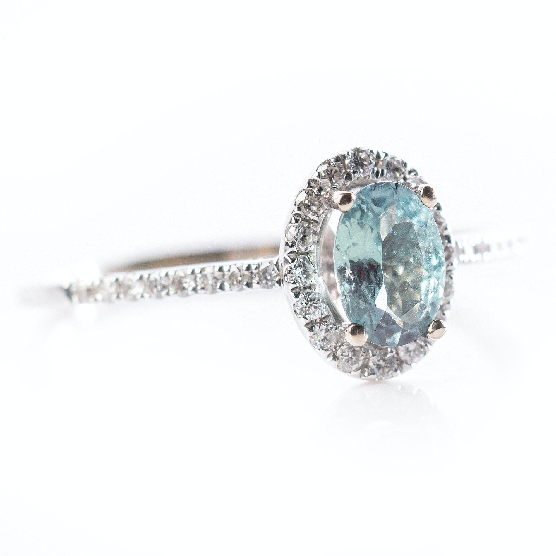 18K White Gold Alexandrite and Diamond Halo Ring