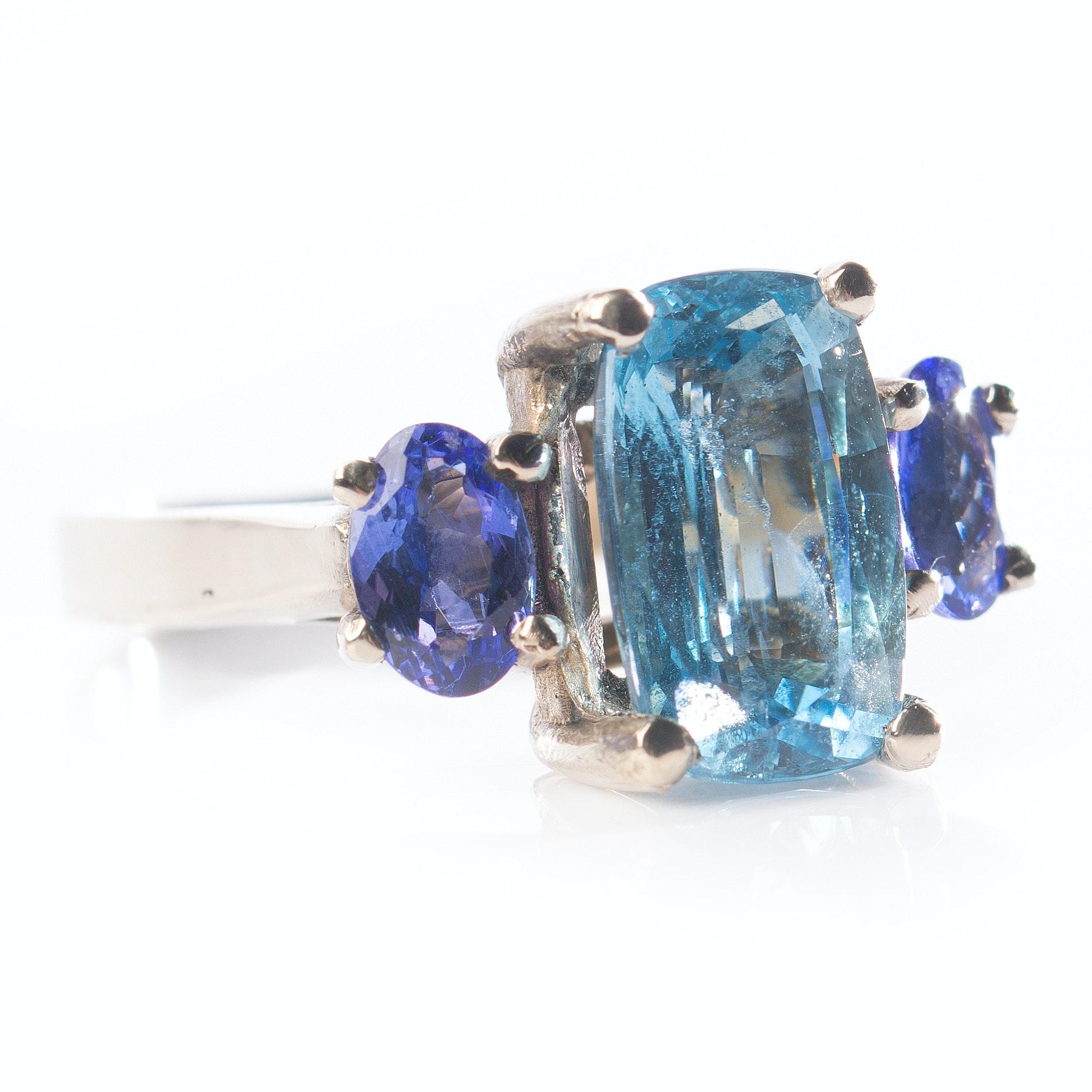 14K White Gold Aquamarine and Tanzanite Ring
