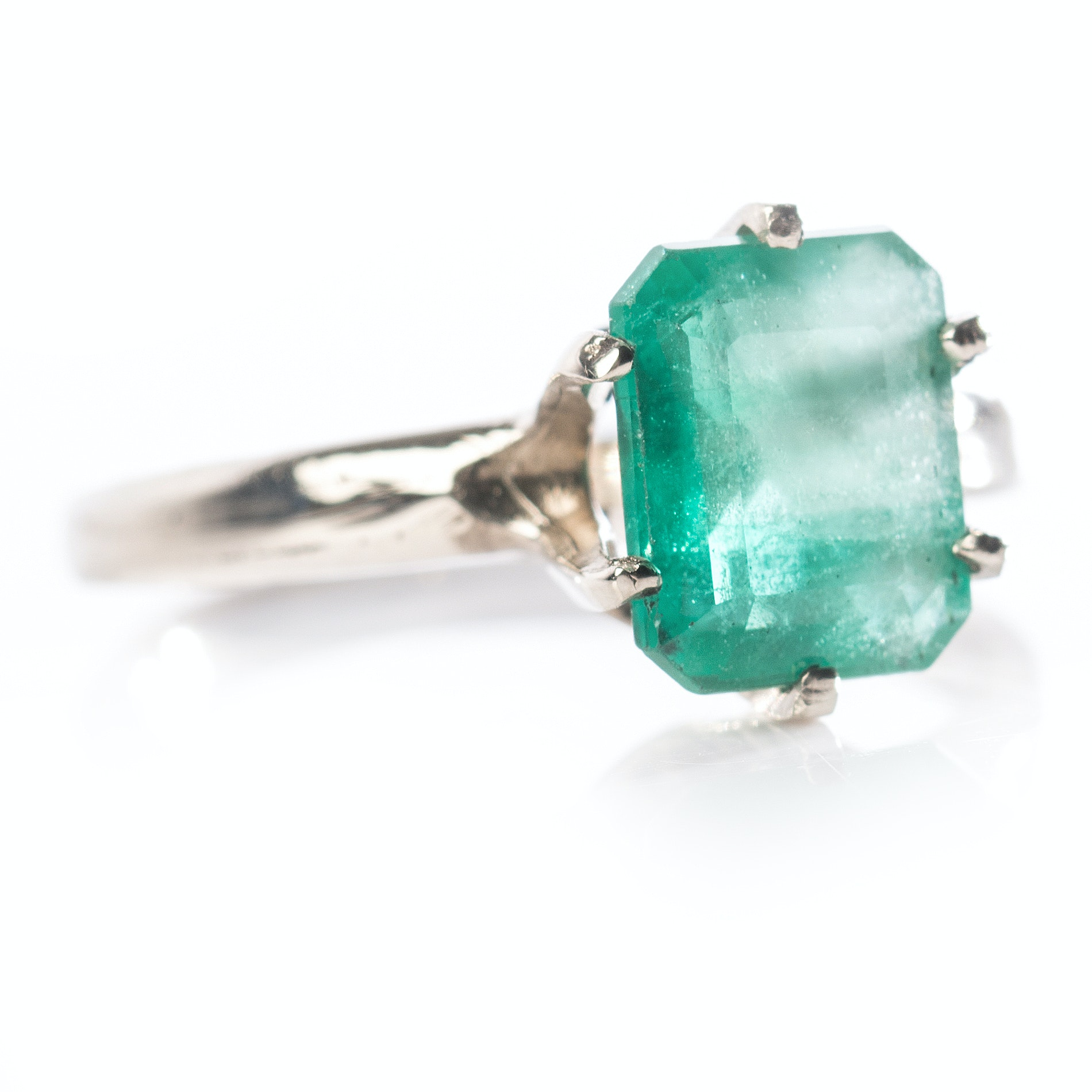 14K White Gold 2.05 CTS Emerald Ring