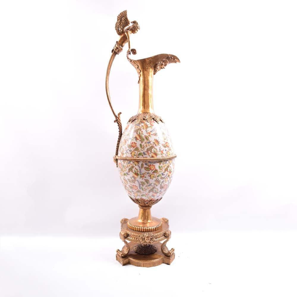 Antique Victorian Brass and Ceramic Claret Pitcher