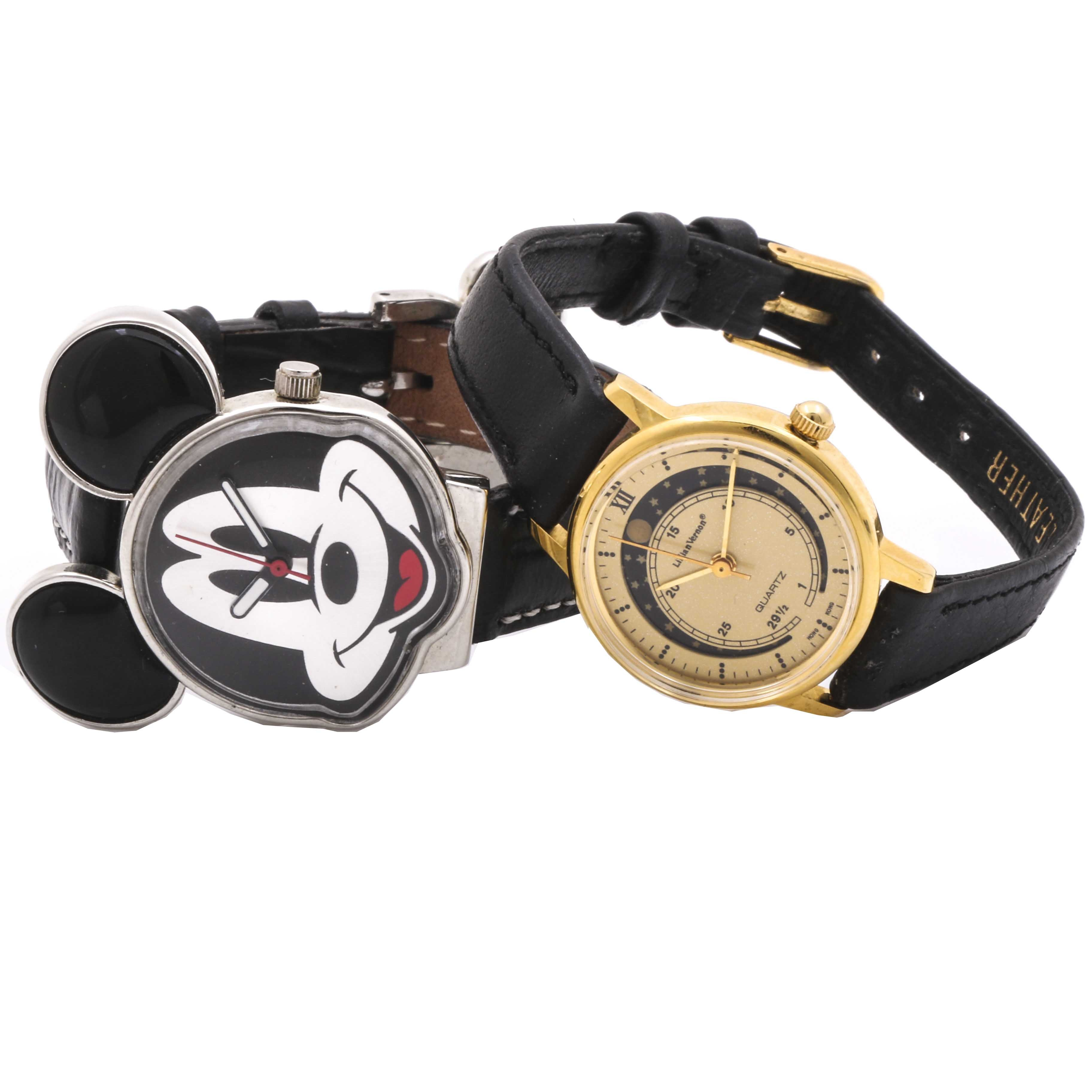 Mickey Mouse and Lillian Vernon Moon Phase Wristwatches
