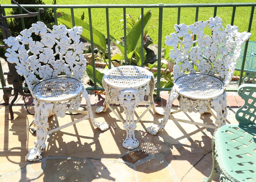 White Wrought Iron Bistro Set