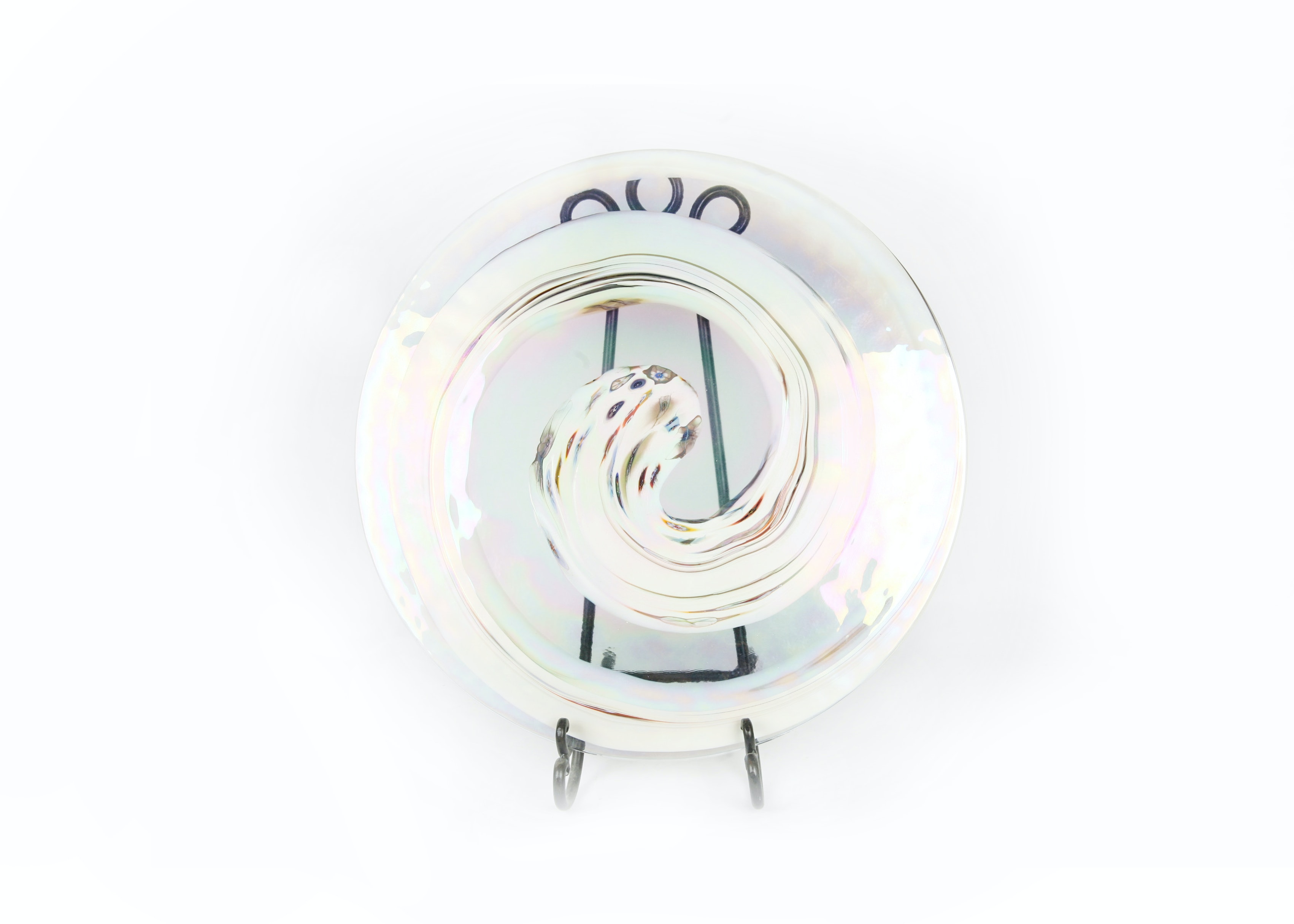 Opalescent Murano Art Glass Disc With Stand