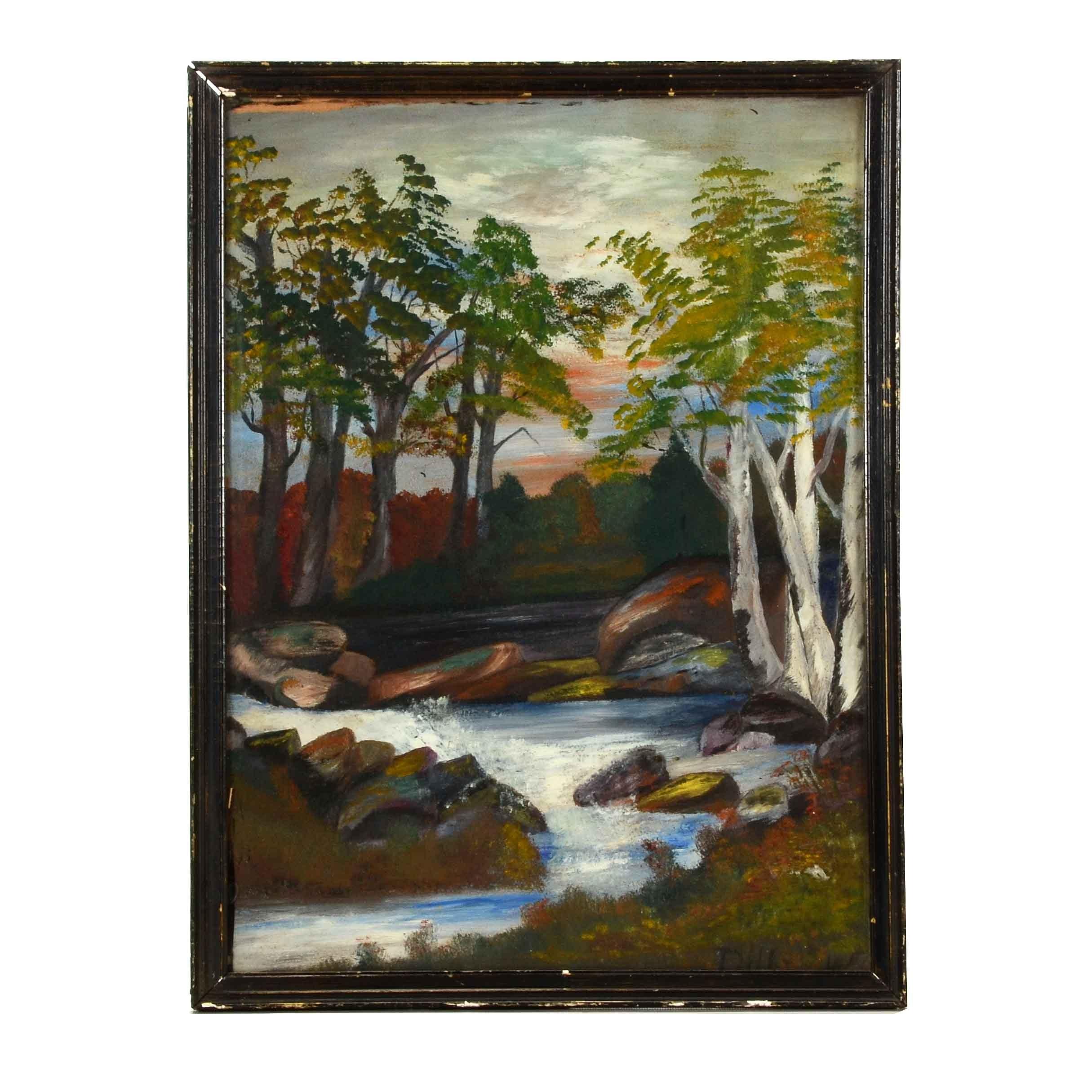 Signed Original 1945 Naive Landscape Oil on Academy Board