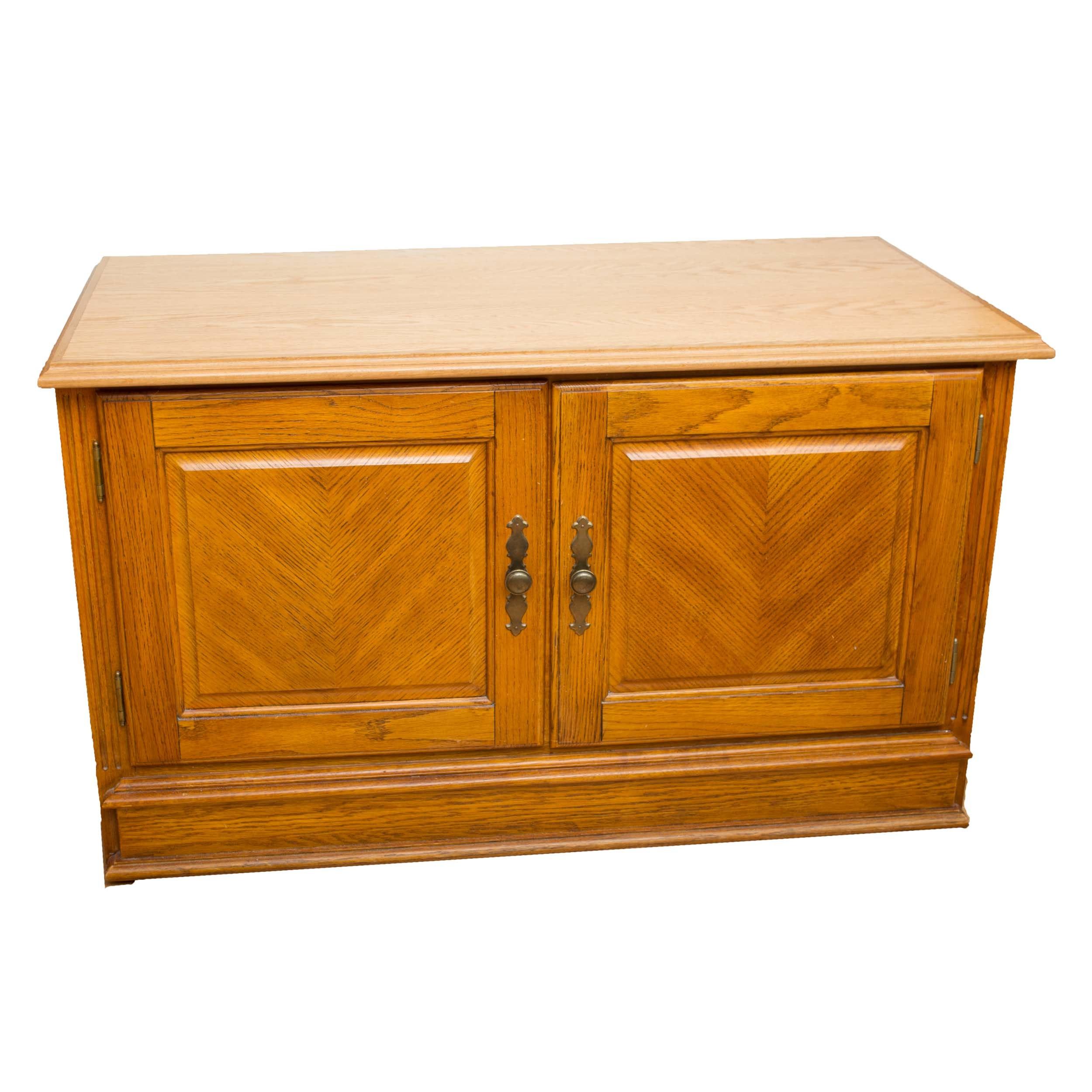 Oak Cabinet with Paneled Doors