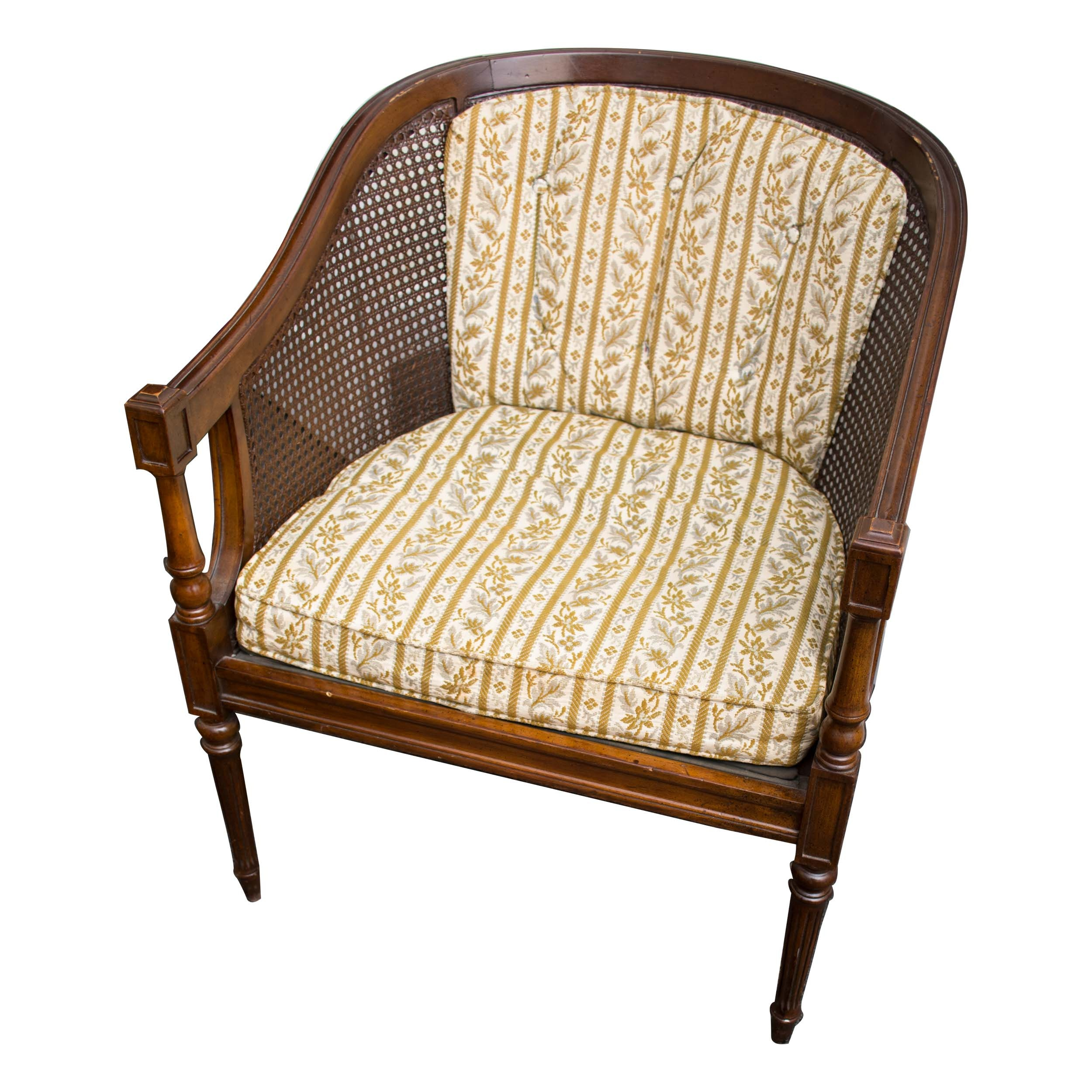 Ethan Allen Caned Barrel Armchair