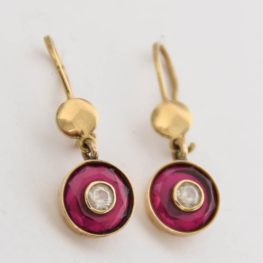 14K Yellow Gold, White Sapphire, and Synthetic Ruby Dangle Earrings
