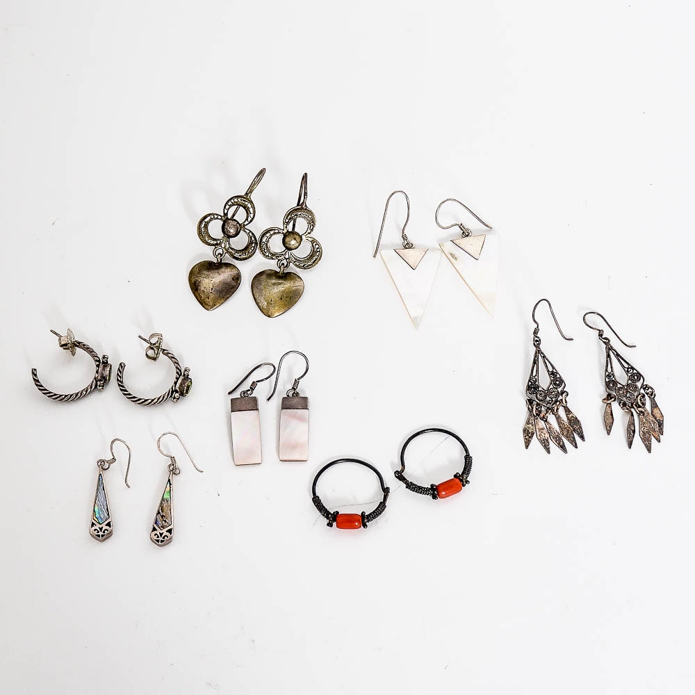 Assortment of Vintage Sterling Silver Earrings