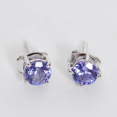 9K White Gold and Tanzanite Stud Earrings