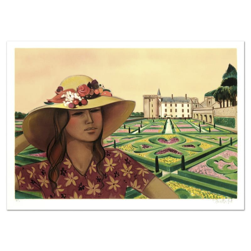 "Robert Vernet Bonfort Limited Edition Lithograph ""Chateau and Gardens"""