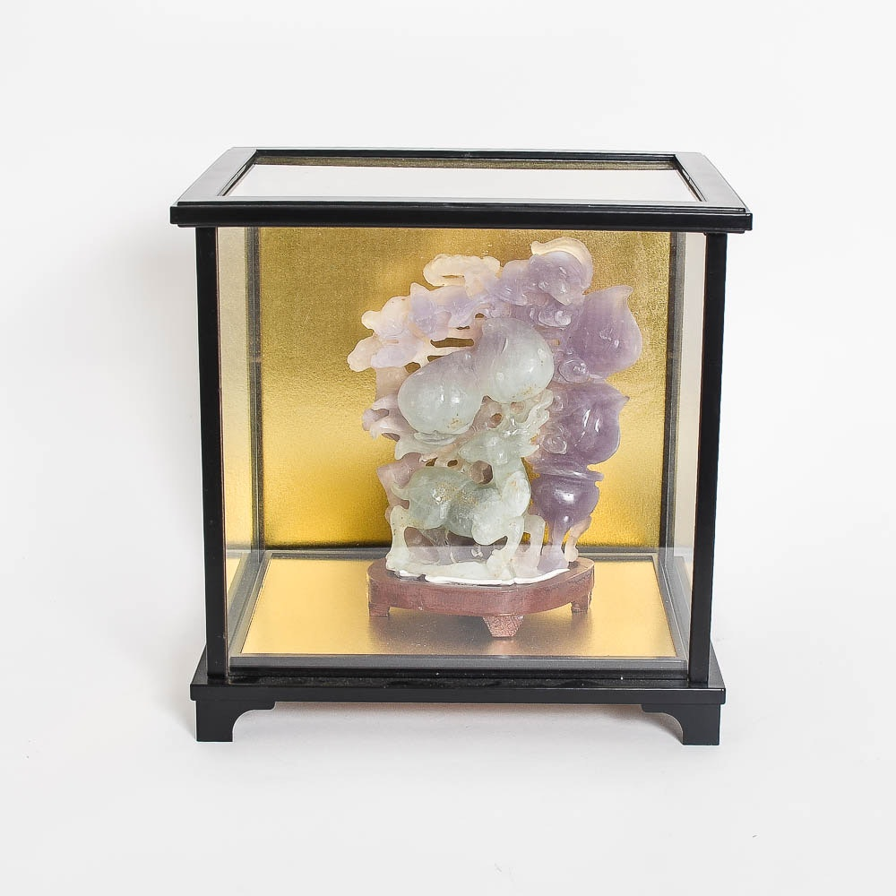 Jadeite Carving with Glass Display Case