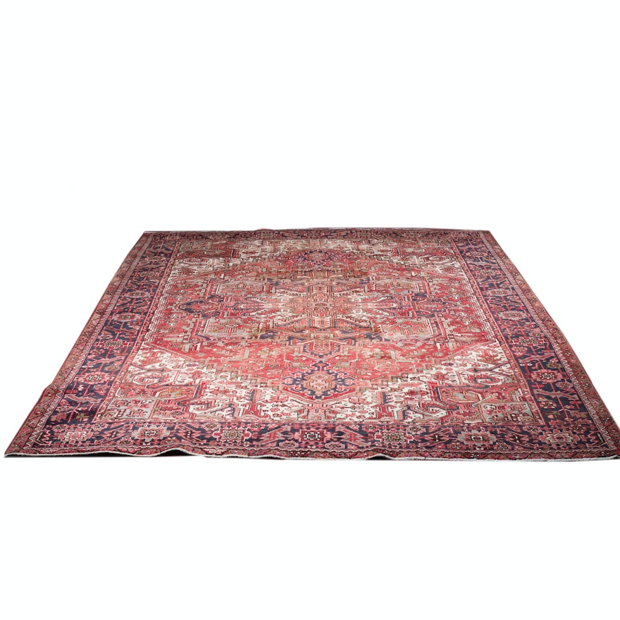 Hand Knotted Indo Persian Obeetee Wool Area Rug Ebth: Handwoven Persian Heriz Wool Area Rug : EBTH