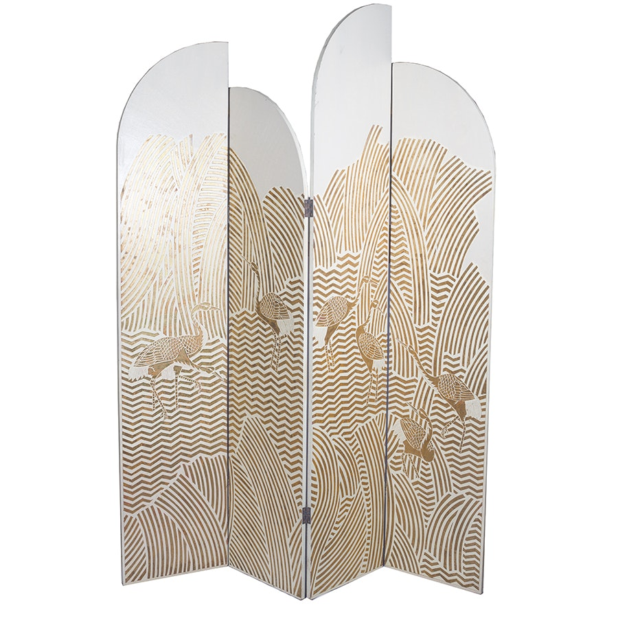 Vintage Four-Panel Art Decor Style Folding Screen