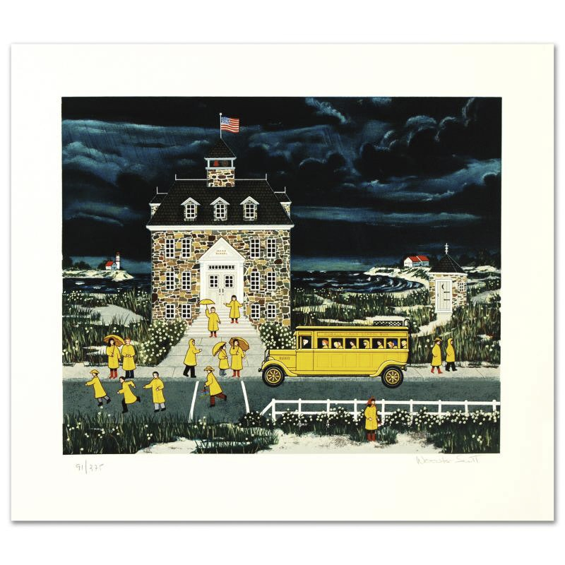 """Jane Wooster Scott Limited Edition Serigraph """"Downpour Down East"""""""