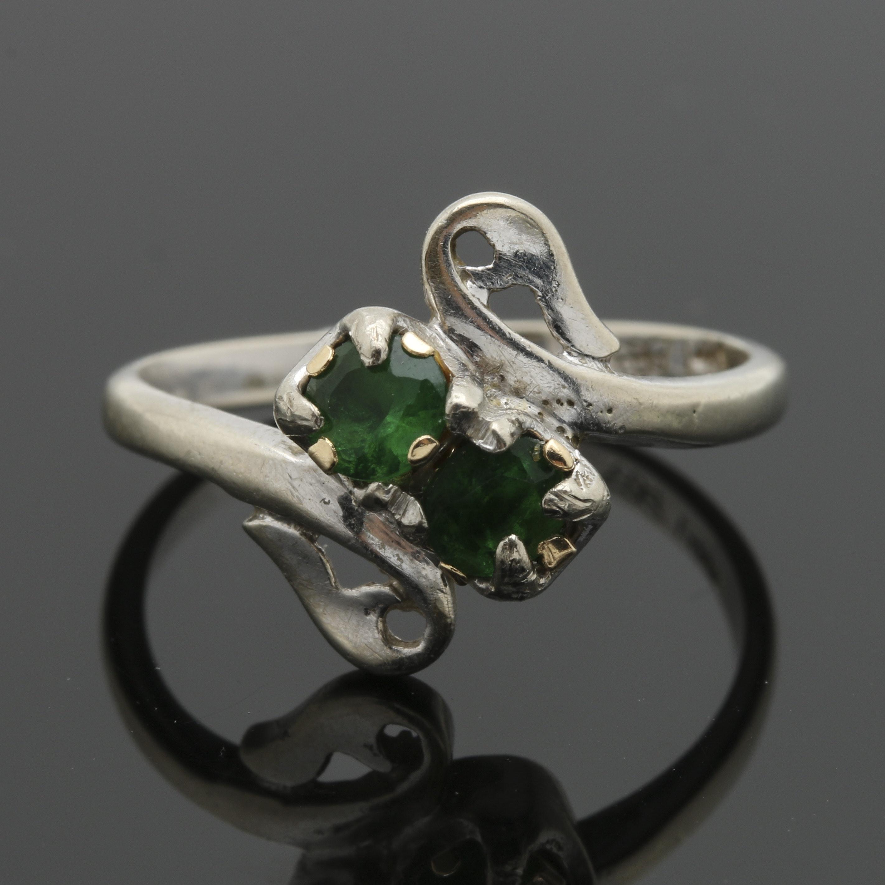 14K White Gold Green Glass Ring