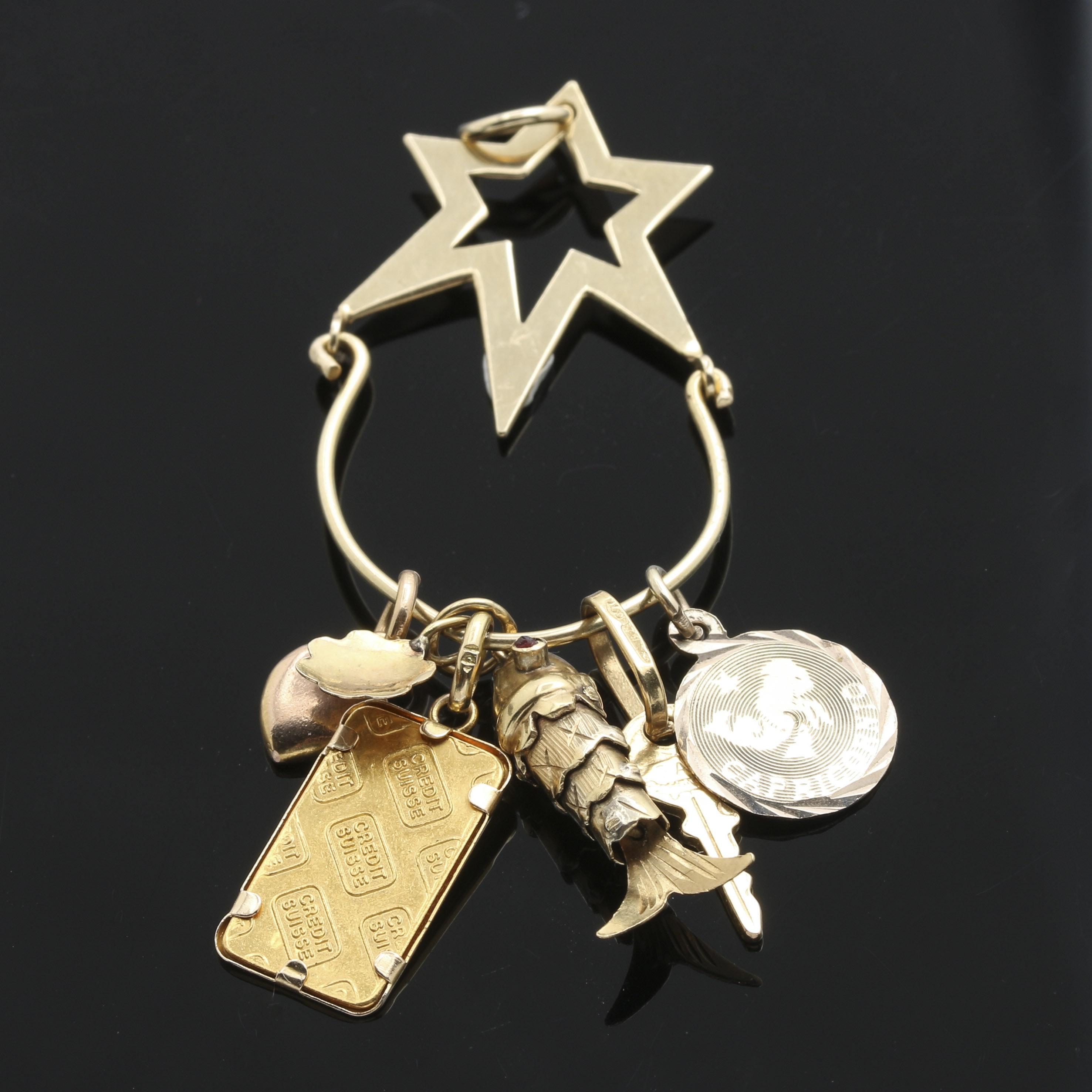 14K Yellow Gold Charm Holder Pendant
