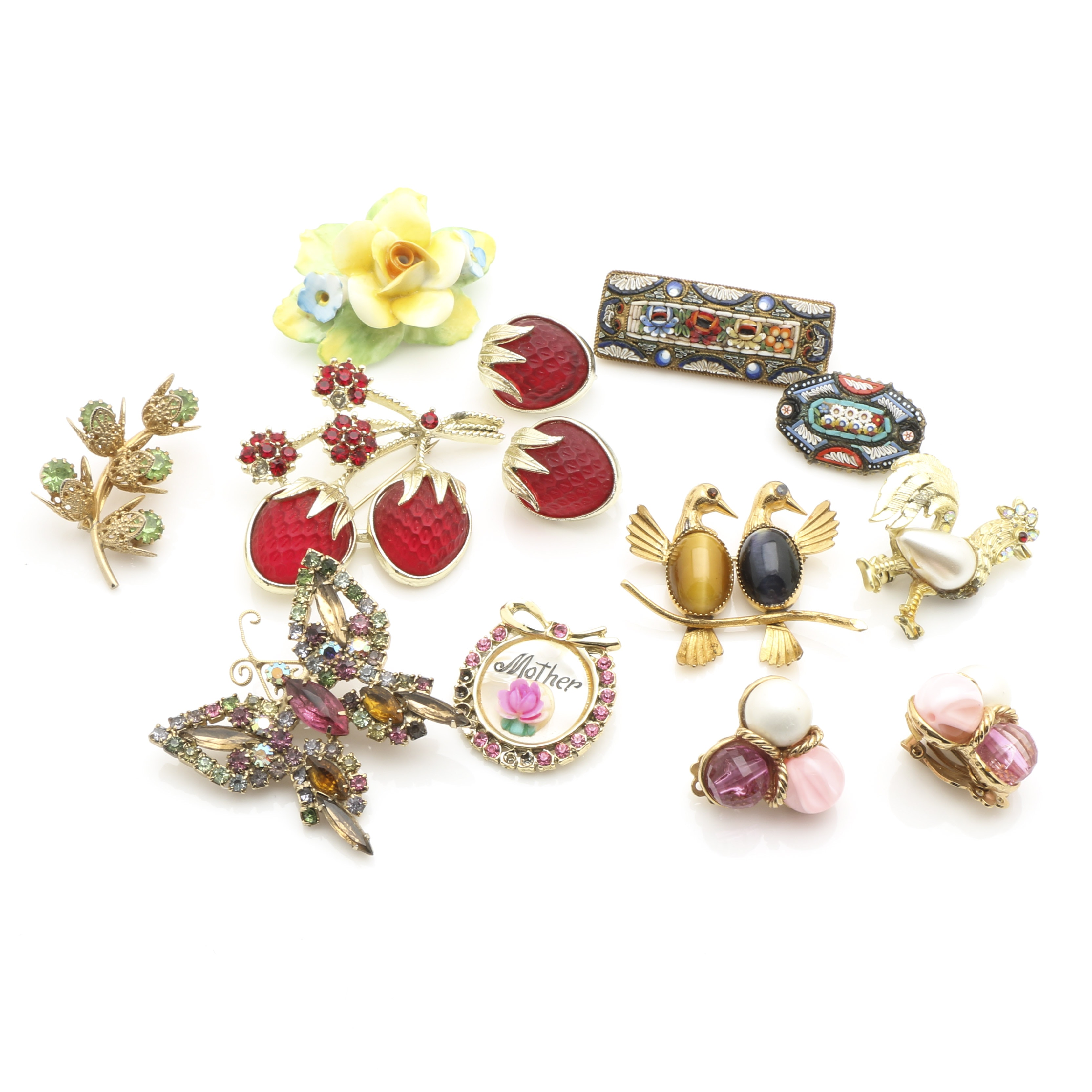 Assortment of Colorful Gold & Silver Tone Gemstone Brooches and Earrings